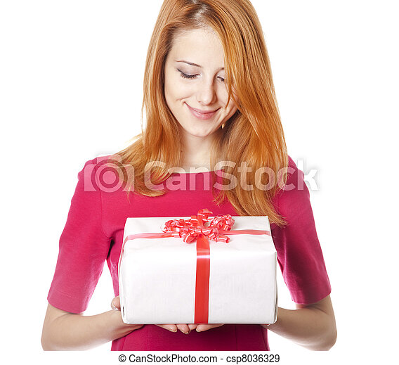Red-haired woman in dress with present box - csp8036329