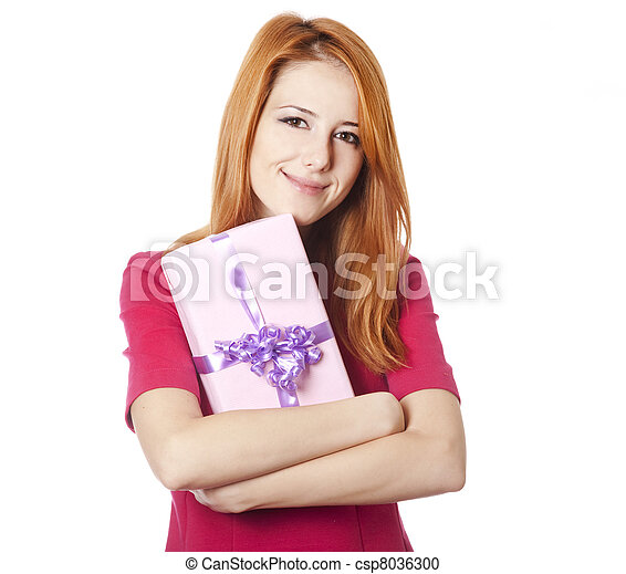 Red-haired woman in dress with present box - csp8036300