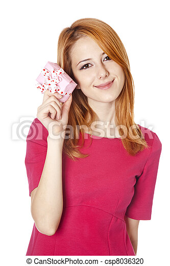Red-haired woman in dress with present box - csp8036320