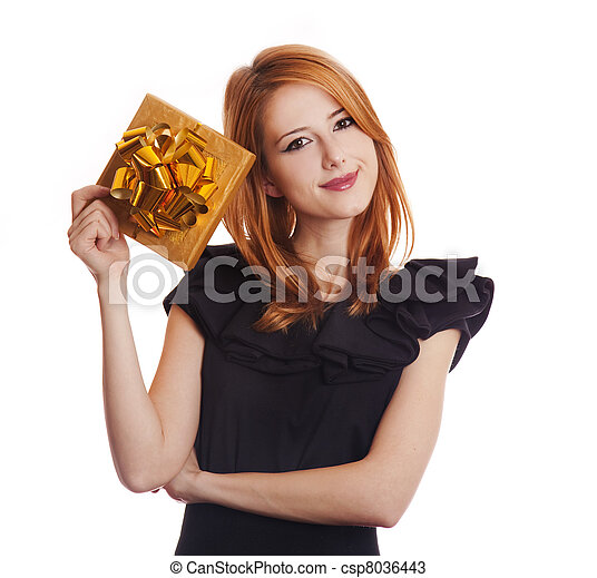 Red-haired woman in dress with present box at white background. - csp8036443