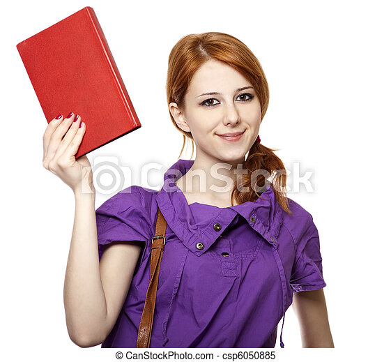 Red-haired woman keep book in hand. - csp6050885
