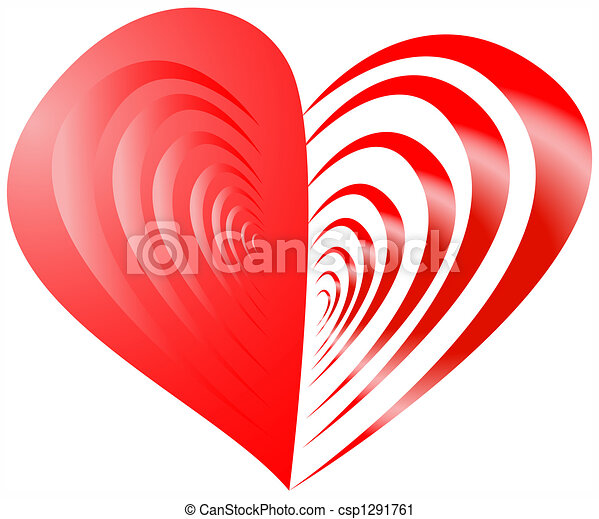 Red Half Striped Heart Red Heart With One Half From Strips