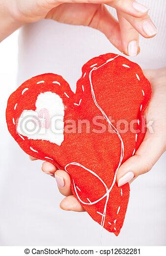 Red handmade heart - csp12632281