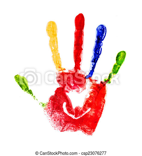 red handprint with colored fingers on an isolated white backgrou - csp23076277