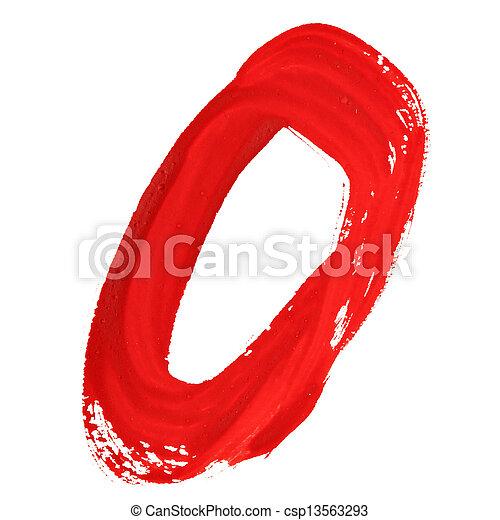 Red handwritten numerals - csp13563293