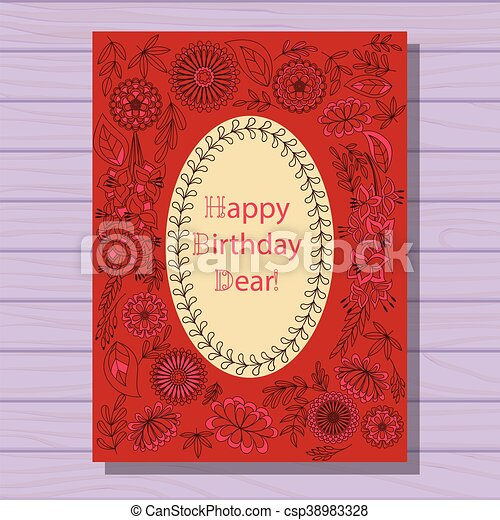 Red happy birthday dear card on wooden background - csp38983328