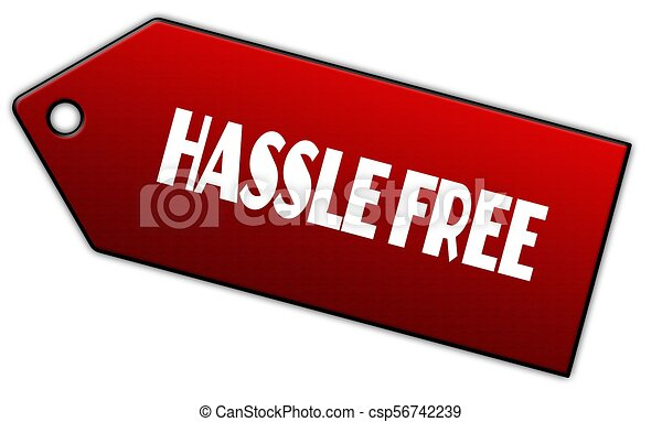 red hassle free label illustration graphic design concept rh canstockphoto co uk Another Word for Hassle-Free Hassle-Free Payday Loans Online