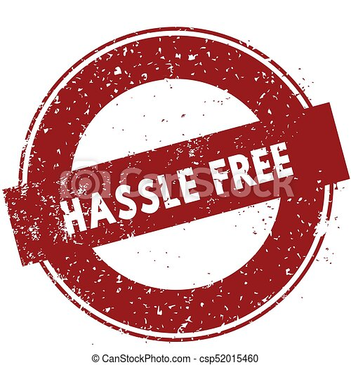red hassle free rubber stamp illustration on white stock rh canstockphoto com Another Word for Hassle-Free Hassle Free Service