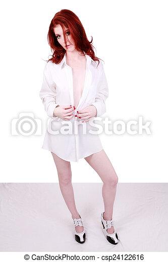 Red Headed Caucasian Woman Standing White Shirt - csp24122616