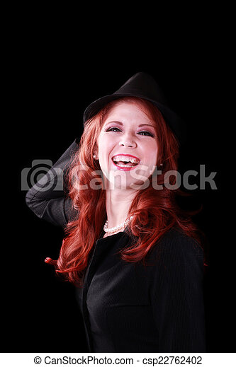 Red Headed Woman Jacket Hat Big Laugh - csp22762402