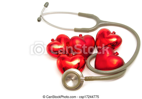 Red heart and a stethoscope - csp17244775