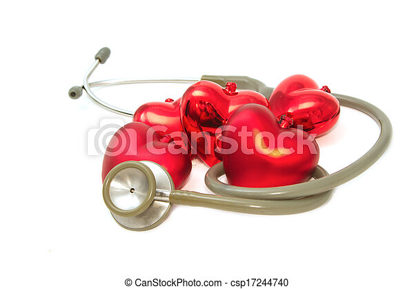 Red heart and a stethoscope - csp17244740