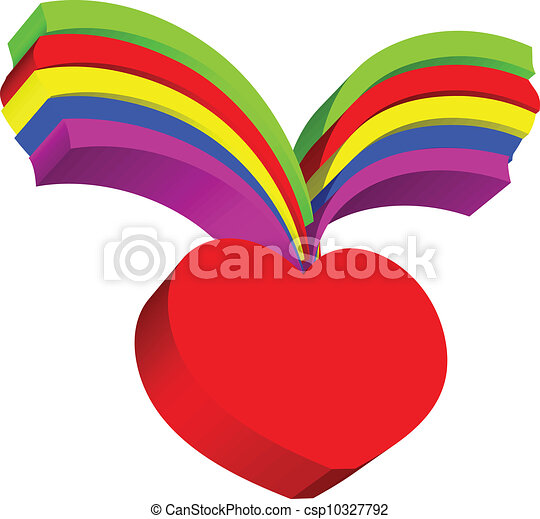 Red heart and rainbow - csp10327792