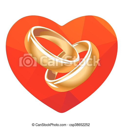 Red heart and two rings Red heart and two wedding rings clipart