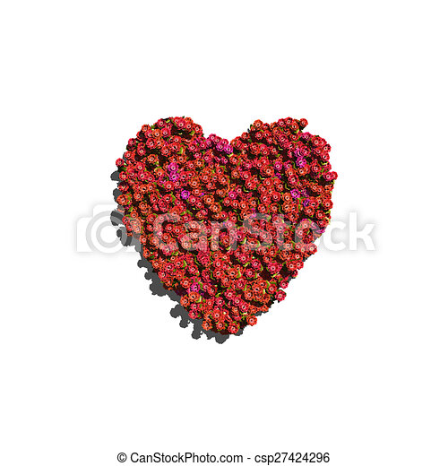 red heart create by flowers white background - csp27424296