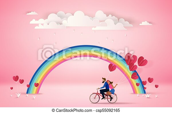 Riding Bicycle On Romantic Travel Honeymoon Vacation Summer Holidays Romance Cloudy Over The Rainbowlove Concept Happy Valentines Day Wallpaper