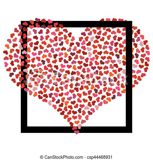 Red Heart From Small Hearts In Black Square Valentines Day