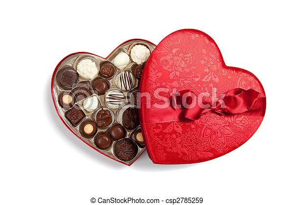 Red heart full of chocolates on white - csp2785259