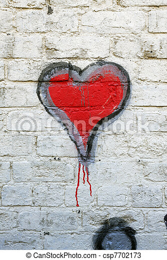 Red heart grafitti - csp7702173