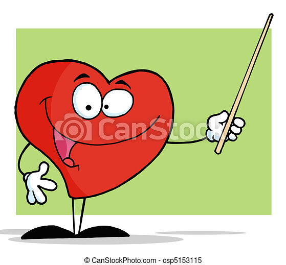 Red Heart Holding A Pointer Stick - csp5153115