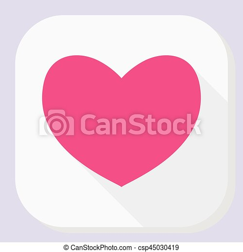 Red Heart Icon With Long Shadow Modern Simple Flat Feelings Shape