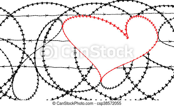 Red heart in barb wire fence. Natural heart shape (digitally ...