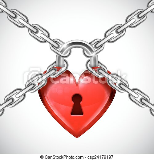 red heart lock and chains shiny red heart lock held down by metal