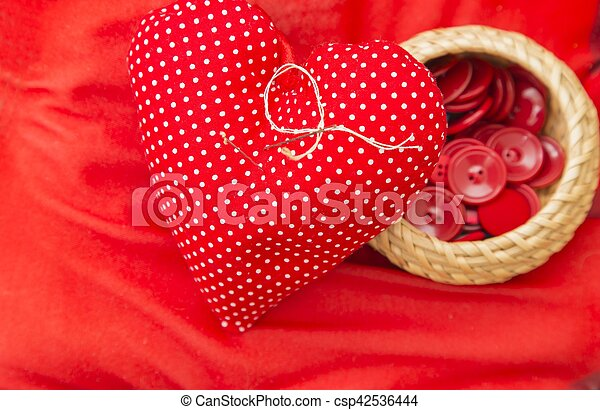 Red heart needle pillow - csp42536444