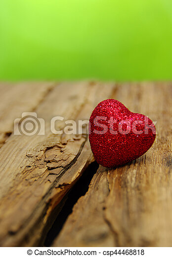 Red heart on a wood - csp44468818