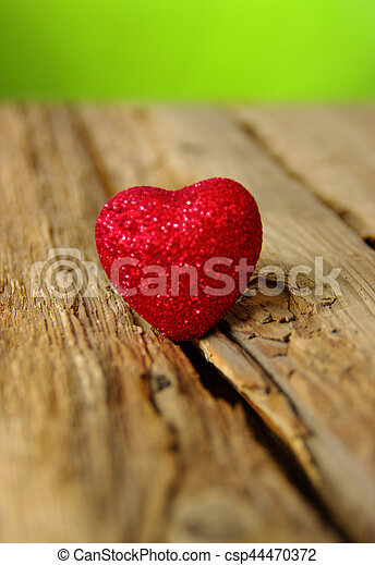 Red heart on a wood - csp44470372