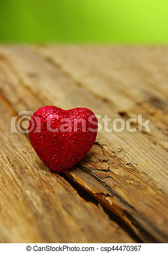 Red heart on a wood - csp44470367