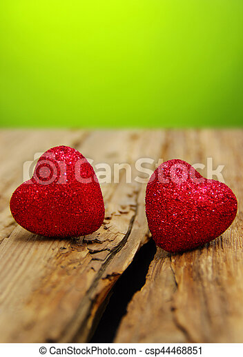 Red heart on a wood - csp44468851