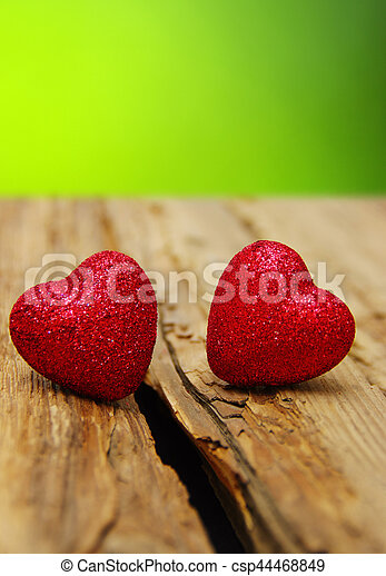 Red heart on a wood - csp44468849