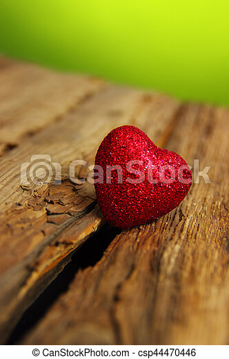Red heart on a wood - csp44470446