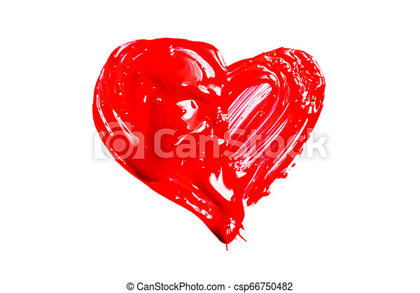 Red heart on white background - csp66750482