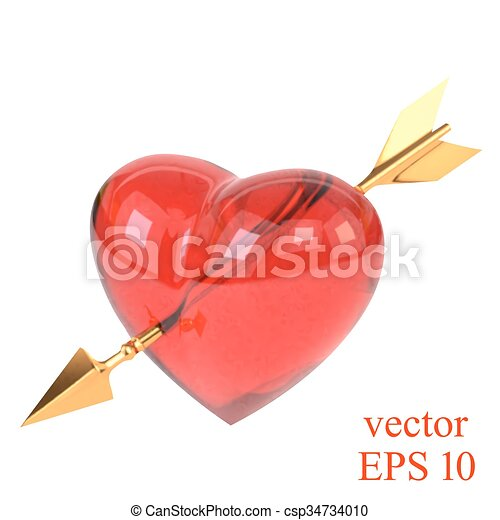 red heart pierced by a golden arrow isolated on white background