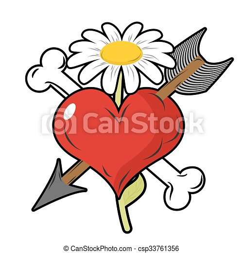 red heart piercing arrow symbol of love bone is symbol of rh canstockphoto com