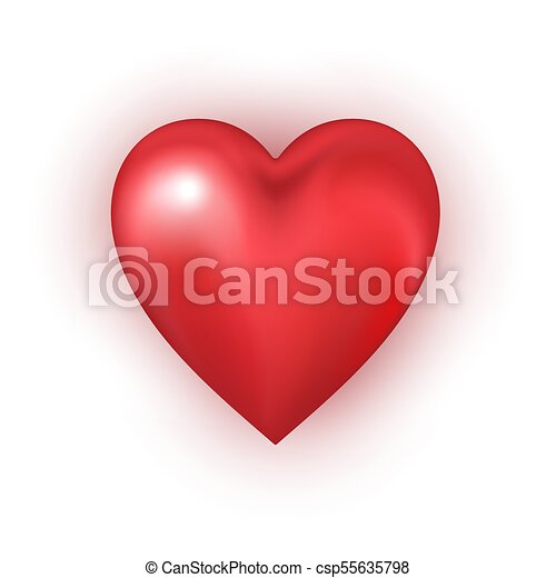 Red heart shape on white background. - csp55635798