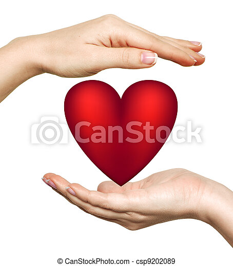 Red Heart Symbol In Womans Hands Isolated On White