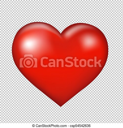 Red Heart Symbol Transparent Background With Gradient Mesh Vector