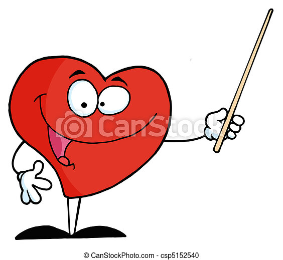 Red Heart Using A Pointer Stick - csp5152540