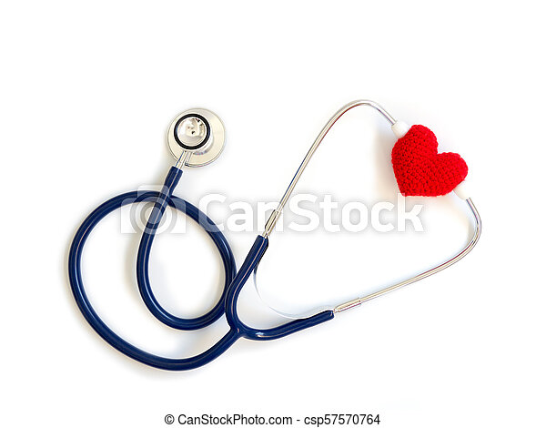 red heart using deep blue stethoscope on the white background (Isolated background). Concept of love and caring patient by the heart. Copy space for the text and contents - csp57570764
