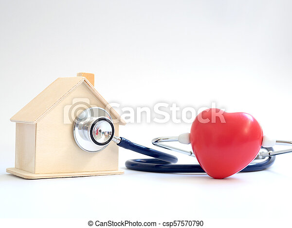 red heart using stethoscope on the blue background for house health check. Concept of love and caring patient house by the heart. Copy space for the text and contents - csp57570790