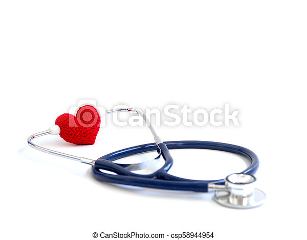 red heart using stethoscope on the white background (Isolated background). Concept of love and caring patient by the heart. Copy space for the text and contents - csp58944954