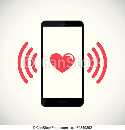 red heart vibrates in black smartphone - csp60849392