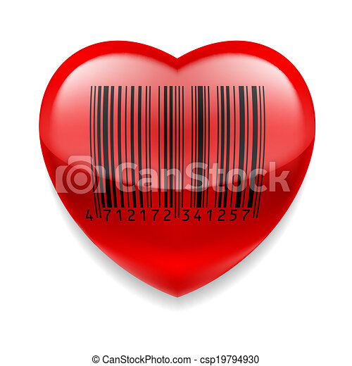 Red Heart With Barcode Shiny Red Heart With Bar Code Over White