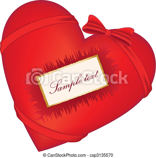 Red heart with bow - csp3135570
