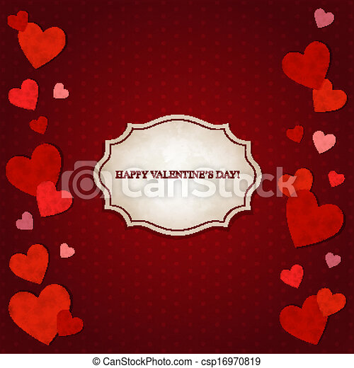 Red hearts and vintage label - csp16970819