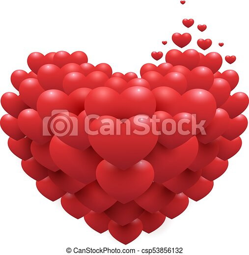 Red Hearts On Heart Shape Symbol Of Love Accessory For Valentines