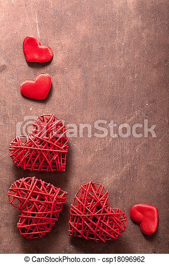 red hearts over wooden background for Valentines day  - csp18096962